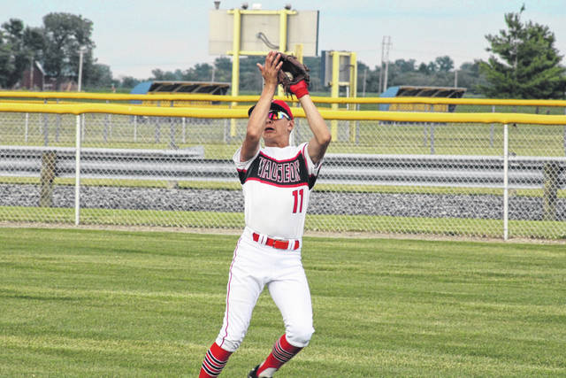 Wauseon's Keaton Hartsock makes a catch in right field for the second out of the bottom of the second inning Friday in a ACME district game versus Miller City at their home park. The Indians shut out the Wildcats 5-0 but fell 8-7 to Tinora on Saturday.
