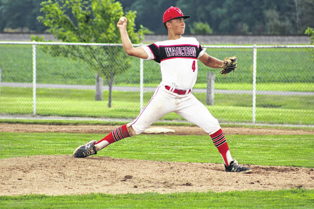 Tyson Rodriguez got the ball on the mound for Wauseon Monday in a game with Miller City in the consolation bracket of the District 2 ACME district tournament. He went six innings for the Indians, but the Wildcats came back in the seventh for the 5-4 win.