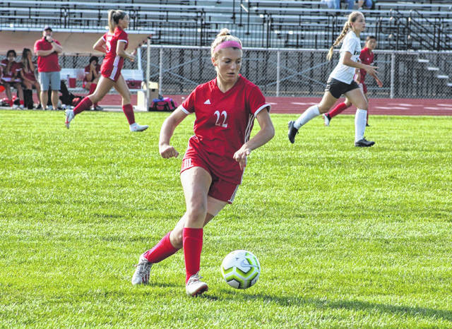 Wauseon's Kadence Carroll works the ball up the field in a league matchup with Evergreen last season. Carroll was selected first team All-NWOAL and second team all-district as a junior in 2020.