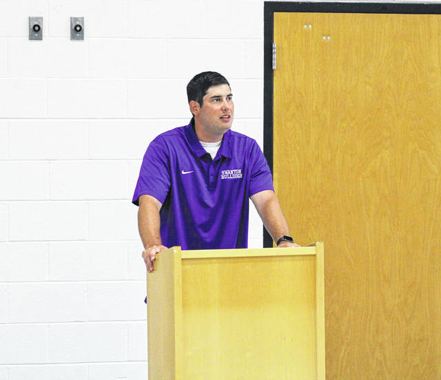 Swanton head coach Denton Saunders makes his pitch Sunday evening to his fellow NWOAL football coaches. Saunders said his Bulldogs have a more positive attitude this season and good leadership.
