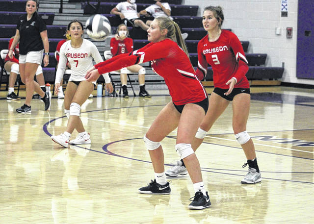 Marisa Seiler of Wauseon makes a pass in a match at Swanton last season. She returns for the Indians after a season which saw her receive second team All-NWOAL honors.