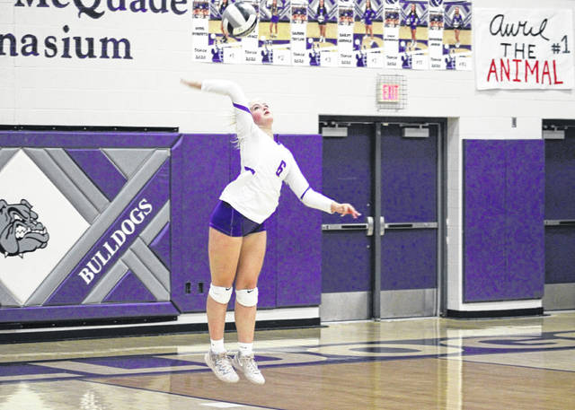 Sofie Taylor of Swanton with a serve during a match last season. She was first team All-NWOAL and second team District 7 as a sophomore in 2020.