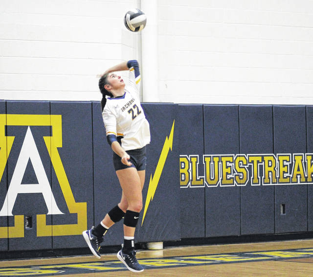 Addi Ziegler serves up a ball for Archbold during a match last season. She returns for her senior season after receiving NWOAL Player of the Year honors in 2020.