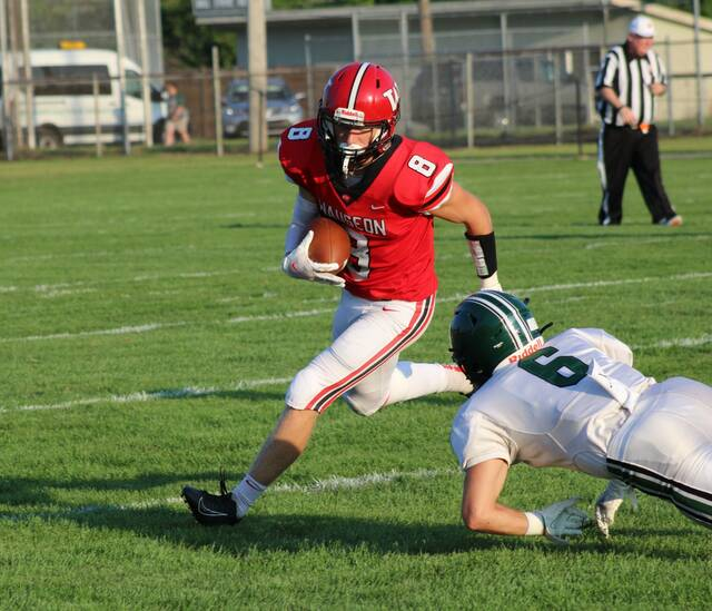 Wauseon's Jude Armstrong elludes a Tinora defender on a run after the catch back in week two. Last Friday the Indians bounced back from their loss to the Rams with an overtime win at Napoleon.