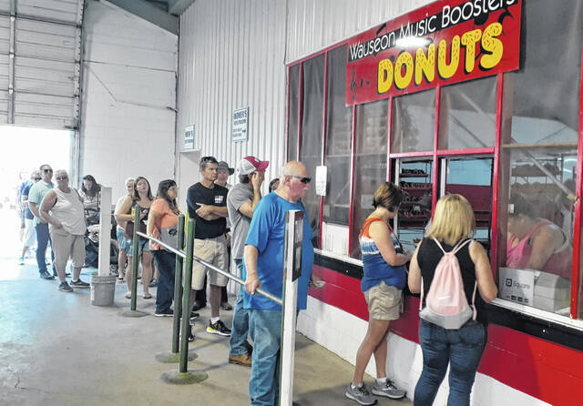 As usual, the line to the doughnut booth remained long throughout the fair.