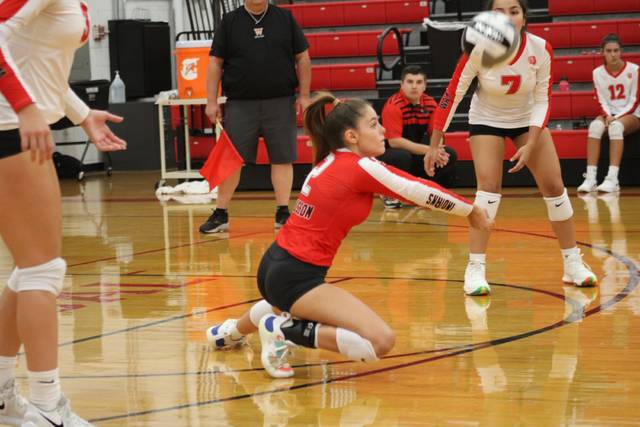 Aaliyah Glover of Wauseon digs up a ball during Tuesday's NWOAL battle with Delta. The Indians claimed a three-set win over the Panthers.