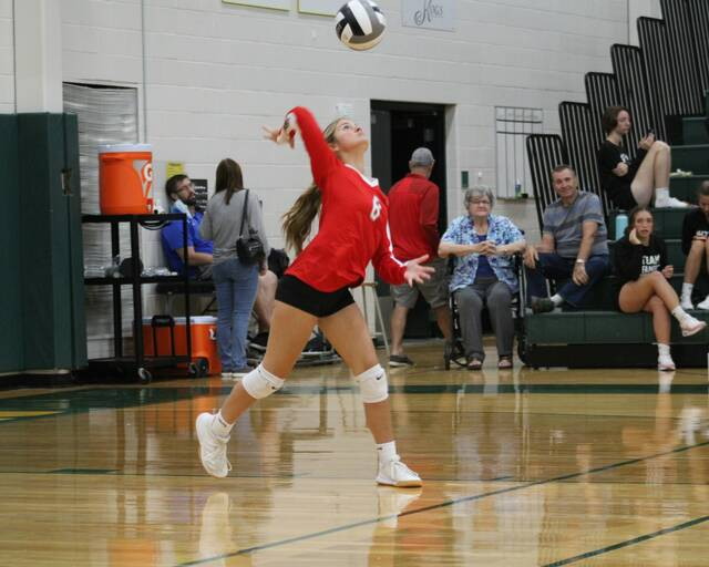 Wauseon's Ella Hageman serves one up during the match at Evergreen Tuesday. The Indians swept the Vikings 25-15, 25-21, 25-13 to get to 3-1 in the league.