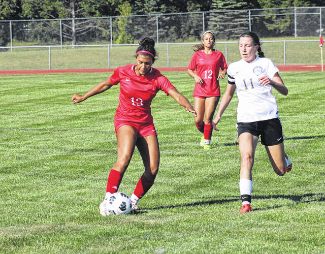 Aariyah Hallett of Wauseon boots one up the field in a girls soccer match against Continental Thursday. The Indians scored two second half goals en route to a 3-1 win over the Pirates.