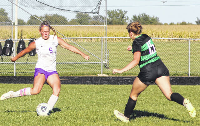 Swanton's Jayden Hendricks scores a second half goal against Delta on Thursday to complete the hat trick.