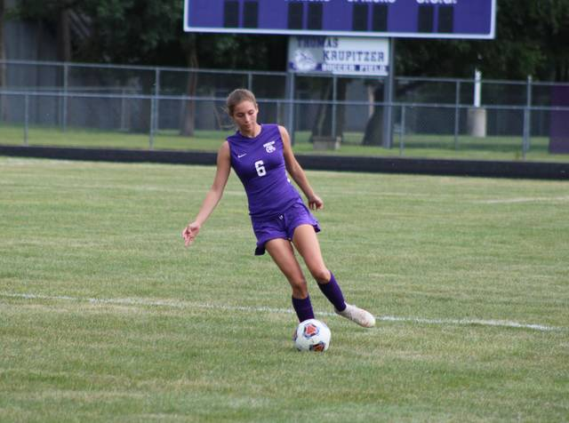 Alaina Mersing of Swanton gets to a ball in the open field during a NWOAL game against Liberty Center Thursday, Aug. 26. The Bulldogs fell 2-1 to the Tigers in the season and league opener.