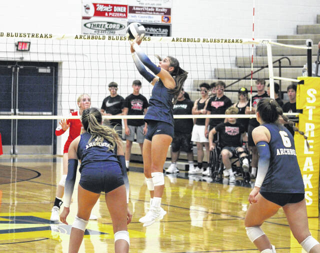 Archbold's Addi Ziegler with a two-handed redirect over the net for a point in the second set of Thursday's NWOAL volleyball match with Wauseon. The Blue Streaks earned a sweep over their rivals to move to 2-0 in the league.