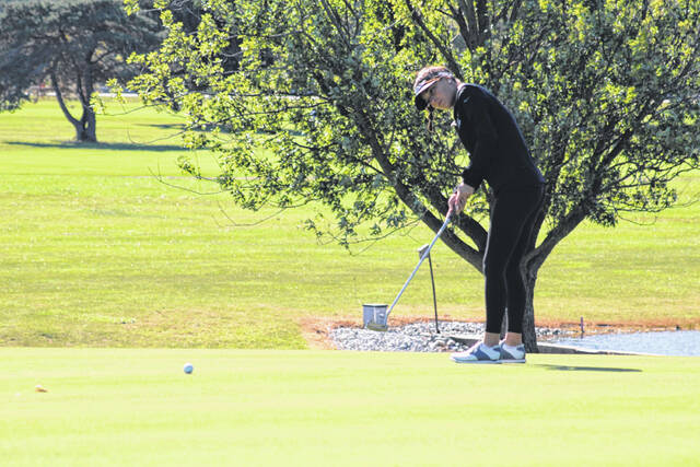 Halle Frank of Wauseon with a putt during the NWOAL Girls Golf Tournament Friday, Sept. 24. She shot a 104 for the Indians who took 12th as a team at the Division II district at Sycamore Springs on Monday.