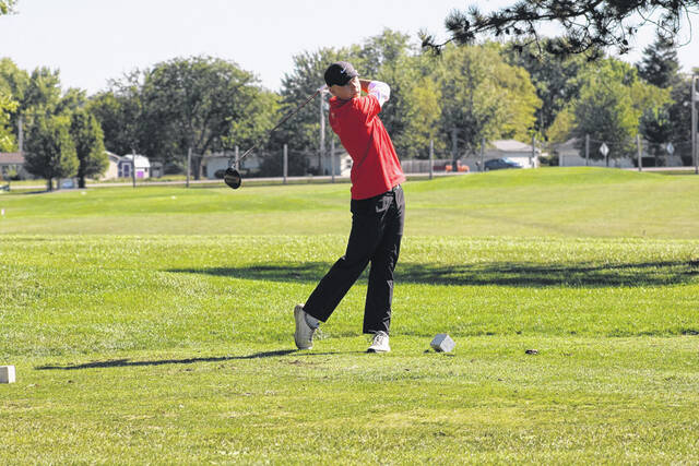Andy Scherer of Wauseon with a tee shot at the NWOAL Championships this season. He placed ninth at the Division II district at Catawba Island on Thursday.