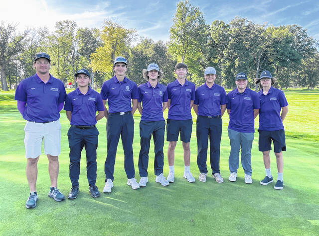 The Swanton golf team collectively shot a 353 to win the Division II Sectional Golf Tournament at Heatherdowns Country Club Thursday. Garrett Swank paced the Bulldogs, taking second overall and shooting an 80. From left: Coach Andrew Emerine, Mazin Rukieh, Sam Betz, Garrett Swank, Lucas Bloom, Adam Lemon, Ryan O'Shea, Ethan Bonifas.