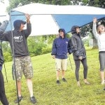 Country Concert goers set-up their tents