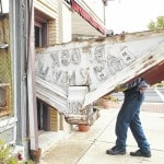 Burkhart Building sign repaired