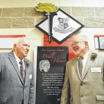 Fort Loramie Schools Wall of Honor inductees James Bornhorst and Kenneth Sowards.