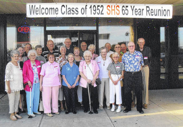 Members of the Sidney High School Class of 1952 attending the 65th reunion were, row one, left to right, Althea (Foster) Clayton, Kathryn (Abbott) Rees, Patsy (Kendall) Watkins, Patti (Slover) Campbell, Carolyn (Spangler) Grossman, Shirley (Paul) Sparks and Charles (Fred) Umstead; row two, Emogene (Long) Reinhardt, Clarice (Dowden) Pence, Jackie (Crabtree) Gephart, Barbara (Fields) Mays, Eileen (Wolfe) Boyer and Carol (Beers) Cavinder; and row three, John Snowden, Ralph Baumgardner, Tim Applegate, Edwin Cotterman, Richard (Dick) Ward, Herman Weissinger, John McKnight and Carl (Max) Carey.