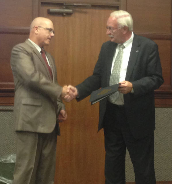 Mayor Mike Barhorst honored Council member Joe Ratermann with the proclamation of Monday, Oct. 23, 2017, as National Park Ranger Joesph Ratermann Day in Sidney. Barhorst said the proclamation is in recognition of Ratermann bringing honor to Sidney and for appreciation of his service to the city and country.