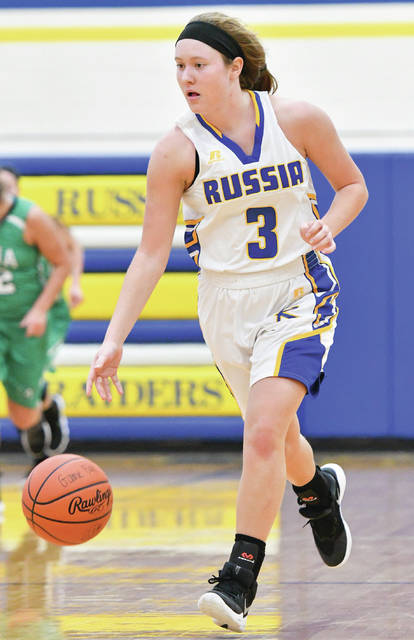 Russia junior guard Jenna Cordonnier dribbles during a Shelby County Athletic League game against Anna last Saturday.