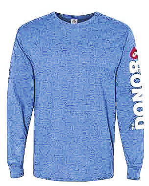 """CBC's """"The Donor Tee"""" January National Blood Donor Month long sleeve t-shirt."""