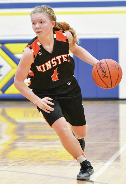 Minster freshman guard Ivy Wolf dribbles during a game at Russia on Dec. 23. The Wildcats are ranked No. 1 in Division IV.