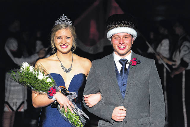 "Connor Pipke, daughter of Charlie and Mindy Pipke, and Coltin Rose, son of Jeff and Amy Morris, were crowned the 2017-18 homecoming queen and king for Jackson Center High School. The theme of the event was ""Join Us on the Red Carpet."" The couple were crowned before the boys junior varsity basketball game on Friday, Dec. 8, 2017."