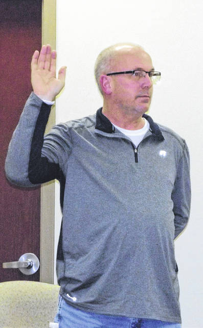 Jason Schaffner received the oath of office as the newly-elected member of the Sidney City Schools Board of Education Thursday night.