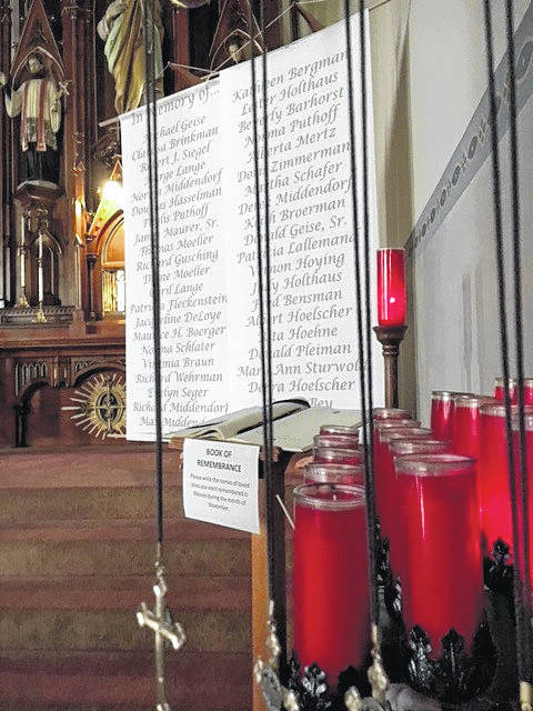 A scroll of parishioners from Fort Loramie St. Michael Church who passed away in 2017 has been placed at the church.