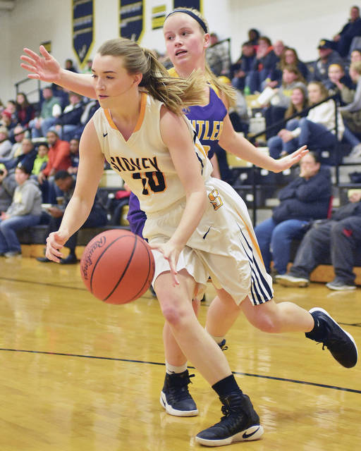 Sidney's Lauren Baker runs past Butler's Gracie Price during a Greater Western Ohio Conference game at Sidney on Wednesday.