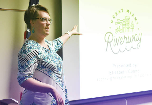 Elizabeth Connor, coordinator the Great Miami Riverway, gives a presentation at the Sidney Police station Thursday, Feb. 22.