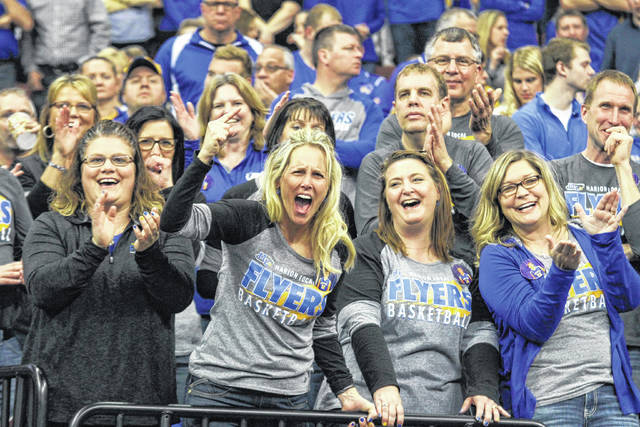Marion Local fans cheer on the Flyers during Saturday's Division IV state championship game in Value City Arena at the Schottenstein Center in Columbus.