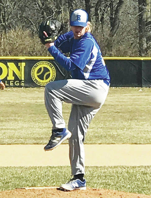 Sidney native Jackson Hobbs throws a pitch during a recent Edison State game. Hobbs is 2-1 with a 2.78 ERA.