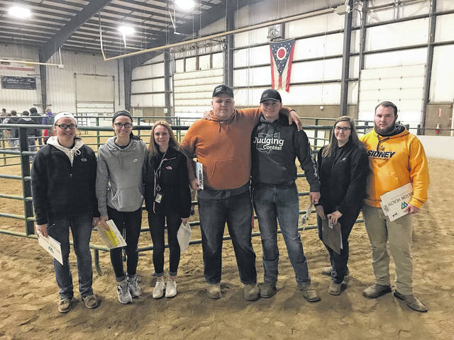 The Sidney FFA General Livestock team competed recently at the Wilmington Invitational. The team consisted of seven individuals including from, left to right, Katelyn Burden, Makali Gibson, Emily Bennett, Skyler Sullivan, Hunter Cisco, Ferrara Hammer and Tony Straman. This is the largest general livestock team ever at Sidney High School.