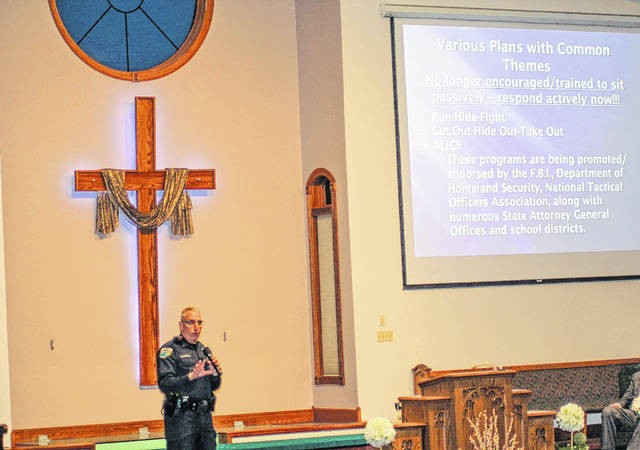 """Sidney Police Officer Mike McRill recently spoke at the Sidney Apostolic Temple about what to do in the event of a active shooter, not just in a church but wherever you might be. Three items he focused on was """"run,"""" """"hide"""" and """"fight."""" He said you should never be afraid to bust a window out to get out if needed and that you can always bust the window in the bottom corner and it will break."""