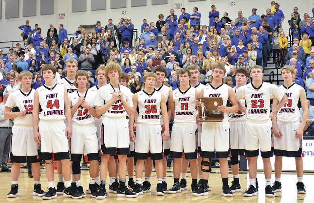 The Fort Loramie Redskins with their runner-up trophy at Trent Arena in Kettering.