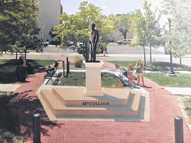 An artist's rendering of the proposed statue donation of Congressman William M. McCulloch.