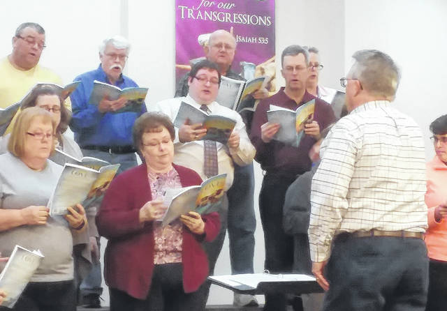 """The Easter Cantata, """"Champion of Love,"""" will be presented Sunday evening, March 25, at 7:00 p.m. at New Hope United Methodist Church. The church is located at 8985 W. Mason Road, Sidney. The thirty-two community choir members are from St. Michael's, Sts. Peter and Paul, Oran Christian Church, Houston Congregational Christian Church, Lockington United Methodist Church, and New Hope United Methodist Church. The choir is under the direction of Larry Ludlow."""