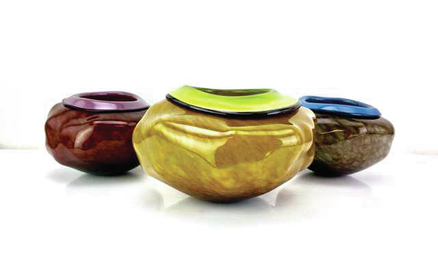 Blown glass creations by Dustin Wagner are in an exhibit opening today at Bear's Mill in Greenville.