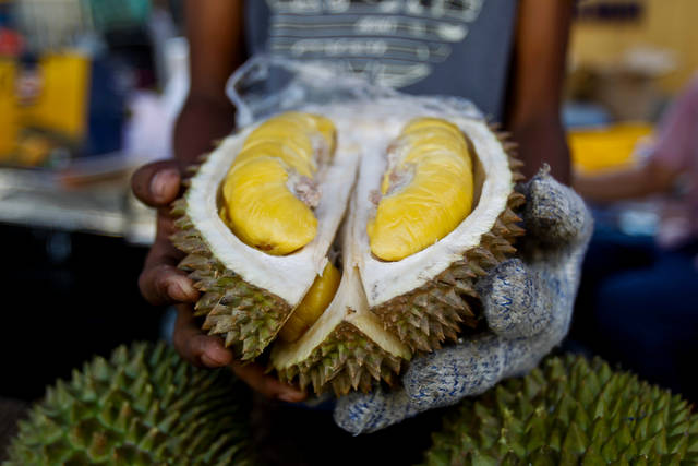 FILE - In this Nov. 25, 2017, file photo, a cut Musang King durian is shown by a vendor during the International Durian Cultural Tourism Festival in Bentong, Malaysia. The pungent smell of the rotten durian fruit at the Royal Melbourne Institute of Technology university campus library in Melbourne, Australia, on Saturday, April 28, 2018, was mistaken for a gas leak, prompting an evacuation of the building. Specialist crews wearing masks searched the library, but all they found was rotting durian in a cupboard. About 600 staff and students cleared the building. (AP Photo/Sadiq Asyraf, File)