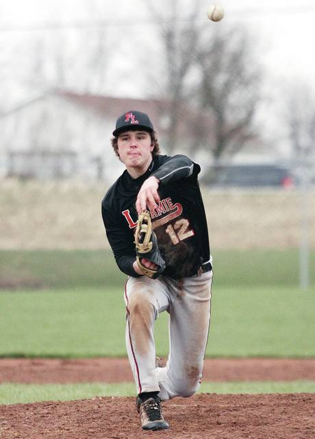 Fort Loramie's Nathan Ratermann pitches during a nonconference game at Riverside on Friday.