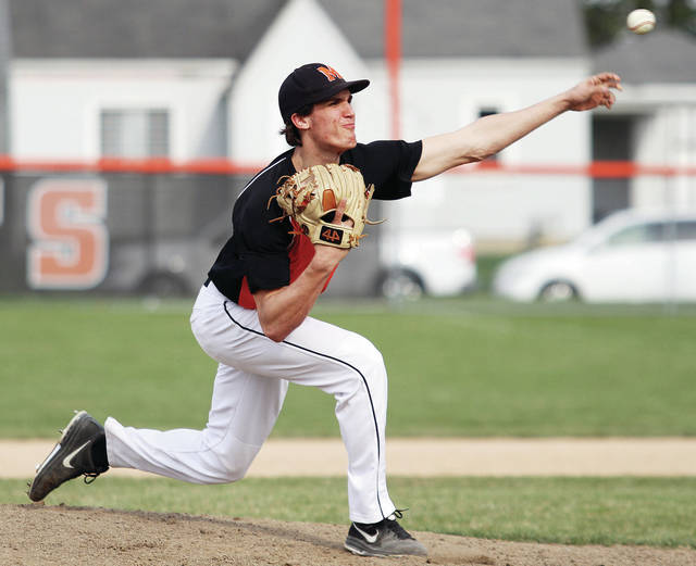Minster's Austin Brown pitches during a nonconference game against Anna on April 13. Brown pitched a complete game in a 7-1 victory at Marion Local on Tuesday.