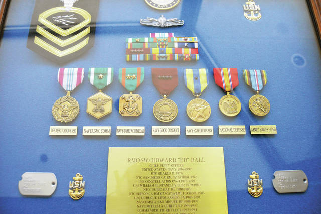 Medals Ed Ball received in the Navy.