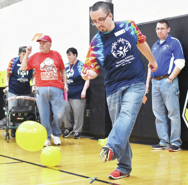 Seth Henderson, of Sidney, competes in the kickball during the Shelby County Special Olympics at the Sidney Middle School, Saturday, April 28.