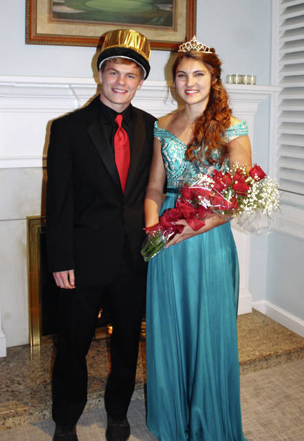 Jared Ford, left, of Bradford, and Brittany Swartz, of Botkins, were crowned king and queen of the Troy Christian High School prom, Friday, April 13. The dance at the Troy County Club was followed by an after-bash at Cincinnati's Web Extreme. Members of the court were Jeremiah Pierce, of Troy, Caitlin Echols, of New Bremen, Riley Hall, of Dayton and Lauren Moritz, of New Carlisle.