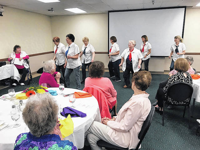 The Steppers of Ohio Living Dorothy Love entertain volunteers at Wilson Health during a volunteer appreciation event at the hospital, recently.