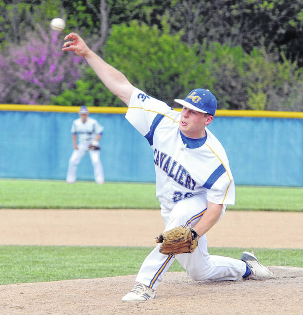 Lehman Catholic 's Jared Magoteaux hurled a three-hitter in the Cavaliers 14-2 win over Jackson Center Wednesday.