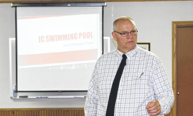 Jackson Center Village Administrator Bruce Metz fields questions during a special meeting to decide the future of the village swimming pool. It appears the pool will be open for business this summer if enough lifeguards are available for hire. More information on the pool's future will be presented at the next council meeting.