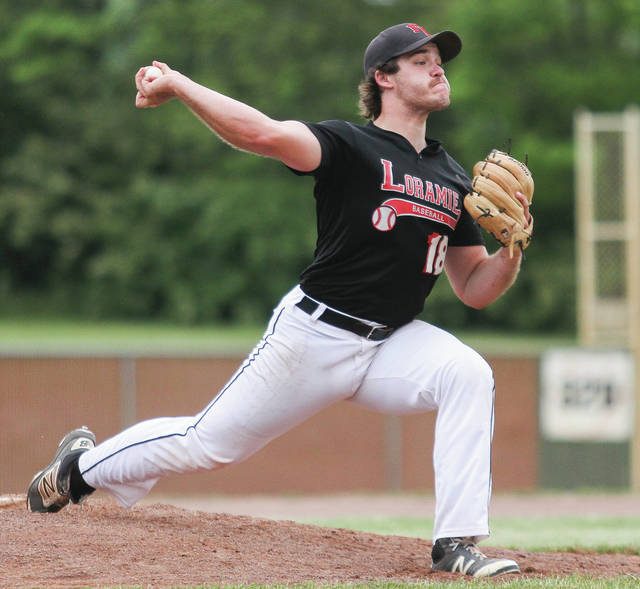 Fort Loramie pitcher CJ Billing throws a pitch during a Division IV district final against Tri-County North on Friday at Duke Park in Troy.