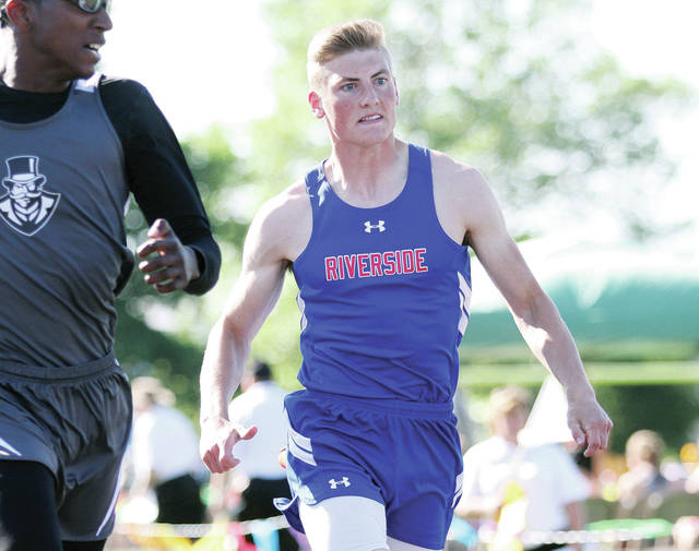 Riverside's Ollie Jacobs competes in the 100-meter dash during the Division III regional track meet on Wednesday at Troy Memorial Stadium.